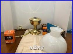 Complete Nib Brass Aladdin Model 23 Tablel Lamp With Opal Glass Shade