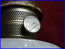 DIAMOND QUILT ALADDIN Mantle Lamp -White Moonstone Bowl With Rose Base + CHIMNEY