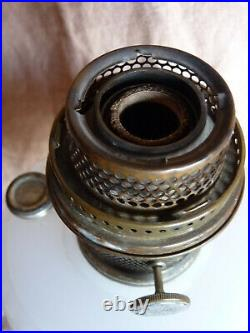 DIAMOND QUILT ROSE MOONSTONE Vintage ALADDIN Mantle Lamp Excellent Cond