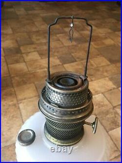 Early ALADDIN KEROSENE LAMP QUILT no. 087 White & ROSE MOONSTONE in Original Box