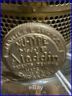 Fantastic Aladdin Oil Lamp complete with high chimney NuType Model B. Cbne