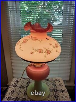Fenton Large HP BURMESE Aladdin Grand Vertique Kerosene Oil / Electric Lamp #477