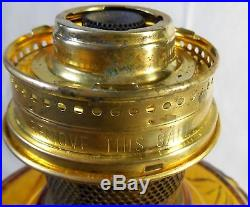 GENUINE ALADDIN BURNER AMBER LINCOLN DRAPE GLASS KEROSENE OIL TABLE LAMP