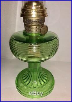 GREEN Depression Glass Aladdin Beehive NU-TYPE Model B Oil Lamp Kerosene