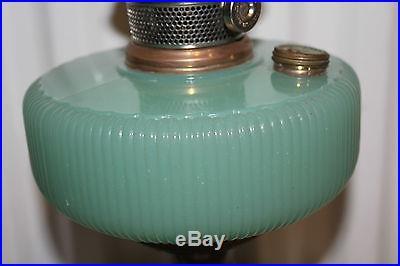 GREEN MOONSTONE ALADDIN QUEEN KEROSENE OIL LAMP GOLD METAL BASE 1937-39