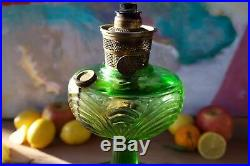 Gorgeous Antique Emerald Green Kerosene Oil Lamp Aladdin Mantle Lamp Company Chi