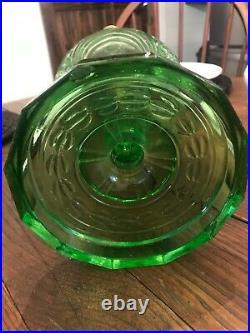 Green Crystal Aladdin Washington Drape Stem Kerosene Oil Lamp Nu-Type Model B