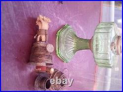 Green Depression Glass Corinthian Aladdin lamp