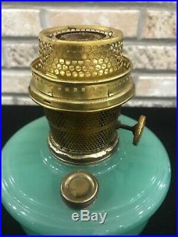 Green Jadeite Moonstone ALADDIN OIL/KEROSENE ALACITE FONT LAMP Model B Shelf