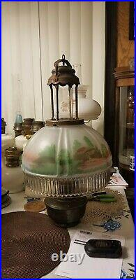 Hanging Aladdin Oil Lamp Model 12, Four post, Withshade 616S Grist Mill