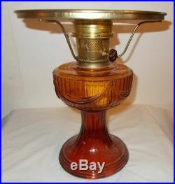 Kerosene Oil Amber Aladdin Lamp dated 1976 with 10 inch Shade