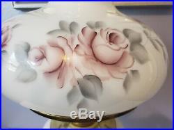 LARGE Aladdin Majestic White Alacite Floral Glass Oil/Kerosene Lamp W #23 Burner