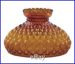 Lamp Shade Amber Glass 10 Student Diamond Quilted Kerosene Oil Quilt Ft Aladdin