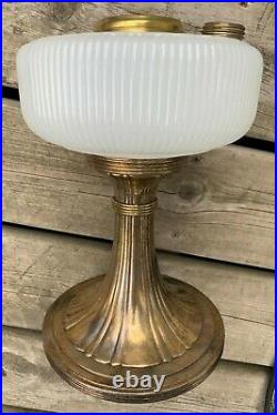 Look! Very Nice! Aladdin White Moonstone Queen B-95 Glass & Metal Lamp Font