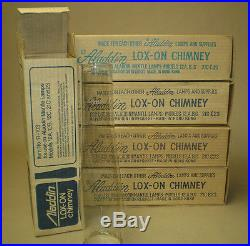 Lot of 5 Aladdin Lox On Oil Lamp Chimneys New Old Stock Boxes 12A, B, C, 21C, 23