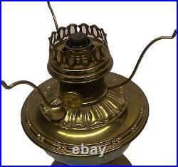 Lovely ALADDIN Model 8 Kerosene Lamp with Satin Glass Shade & Chimney
