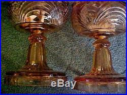 MATCHING PAIR Aladdin Amber Bell Stem Table Oil Lamps OUTSTANDING
