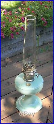 Mantel Co Aladdin Nu-Type Model A Green Venetian Lamp Lox-On & Chimney #2