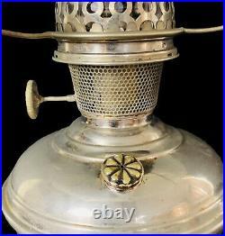 Mantle Lamp 1915-16 Aladdin No 5 Kerosene Lamp & 8 Panel Satin Glass #204 Shade