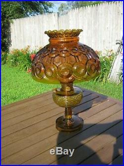 Mantle Lamp Co. Model B ALADDIN Amber Cathedral Oil Kerosene Lamp withChimney