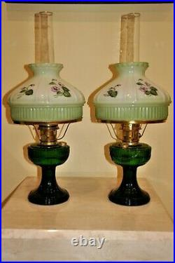 Matched Pair Aladdin Emerald Green Lincoln Drape Lamps