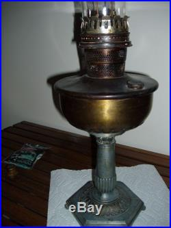 Metal Nu-Type Model B Aladdin Lamp With 2 Glass Chimney, 2 Mantels, Wick Cleaner