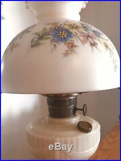 Milk Glass Antique Aladdin Kerosene Lamp NU Type Model B Original Floral Shade
