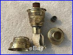 Mint SCALOPPED Foot Aladdin Oil Kerosene Lamp B-76 Cobalt Tall Lincoln Drape