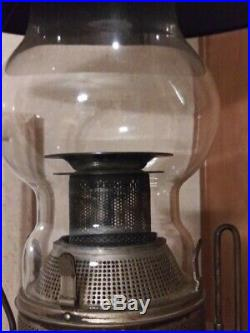 NICKEL PLATED KEROSENE HANGING LAMP / Original Wasp Body Flue C. 1890's