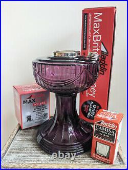 New Aladdin Purple Amethyst Lincoln Drape Lamp with Nickel Burner Chimney Mantle