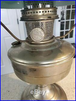 Nickle Plated Aladdin #12 Lamp With Green Cased Shade And Chimney Globe 23