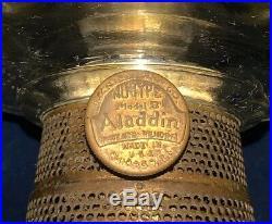 ORIGINAL 24 Aladdin Clear Washington Drape Model B Oil Lamp withHand Painted Shad