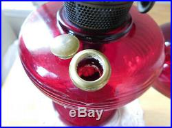 ORIGINAL ALADDIN RUBY RED GLASS BEEHIVE B-83 Table Lamp withORIGINAL RUBY SHADE