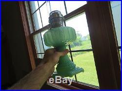 ORIGINAL C. 1934 JADE GREEN ALADDIN B-111 CATHEDRAL OIL LAMP PASTEL MOONSTONE