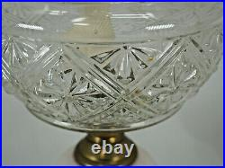Oil Lamp Aesthetic style c 1880 depression UV glass with hand painted stem Eagle