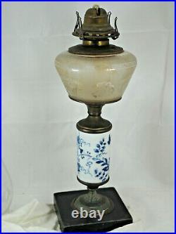 Oil Lamp Aesthetic style c 1880 frosted font ceramic blue white Queen Ann burner