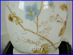 Oil Lamp Aesthetic style c 1880 purple font ceramic delicate hand paint flowers