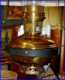 Old Electrified Aladdin Model 12 Hanging Kerosene Lamp with White 516 Shade