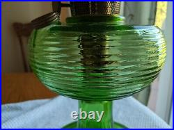 Old Green Aladdin Beehive Oil Or Kerosene Lamp With Chimney Nice Condition