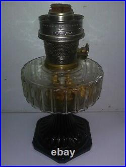 Old Vintage Antique Aladdin Lamp Kerosine Clear Glass Black 21 C Base Parts