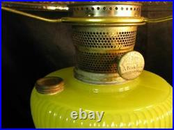 Original 1938 B-88 Aladdin Yellow Moonstone Vertique Lamp w B' Burner & Chimney