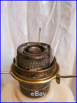 Original ALADDIN Lincoln Drape Pink Alacite Oil Lamp with Shade