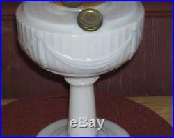 Original Aladdin Milk Glass Tall Lincoln Drape Oil Lamp ca. 1940-1949 Rare