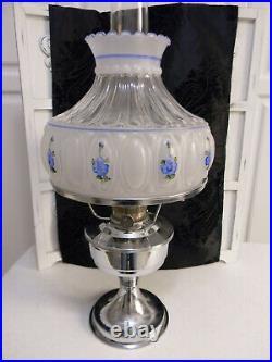 Original Aladdin Oil Kerosene LampHand Painted Glass ShadeChrome BaseSigned