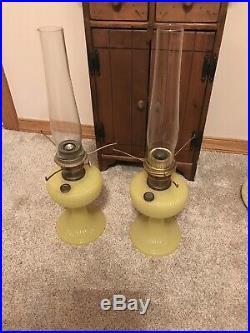Pair Aladdin Yellow Vertique Lamps
