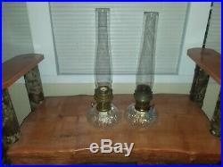 Pair Of Aladdin Genie Kerosene Clear Scallop Shell Design Lamps