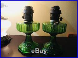 Pair of Antique Nu-Type Kerosene Aladdin Lamps Model B Emerald Green withWicks