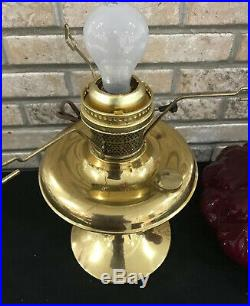 Polished Brass ALADDIN 100th Anniversary Oil Lamp Electric Red Hurricane Shade
