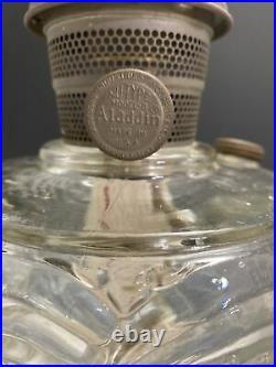 Pr Antique Aladdin Washington Drape Oil Lamp Model B B-53 Crow Foot Clear Glass