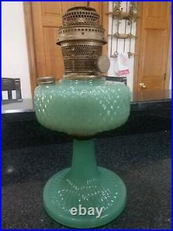 Quilt Green Moonstone Oil Lamp Aladdin Mantle Lamp Company